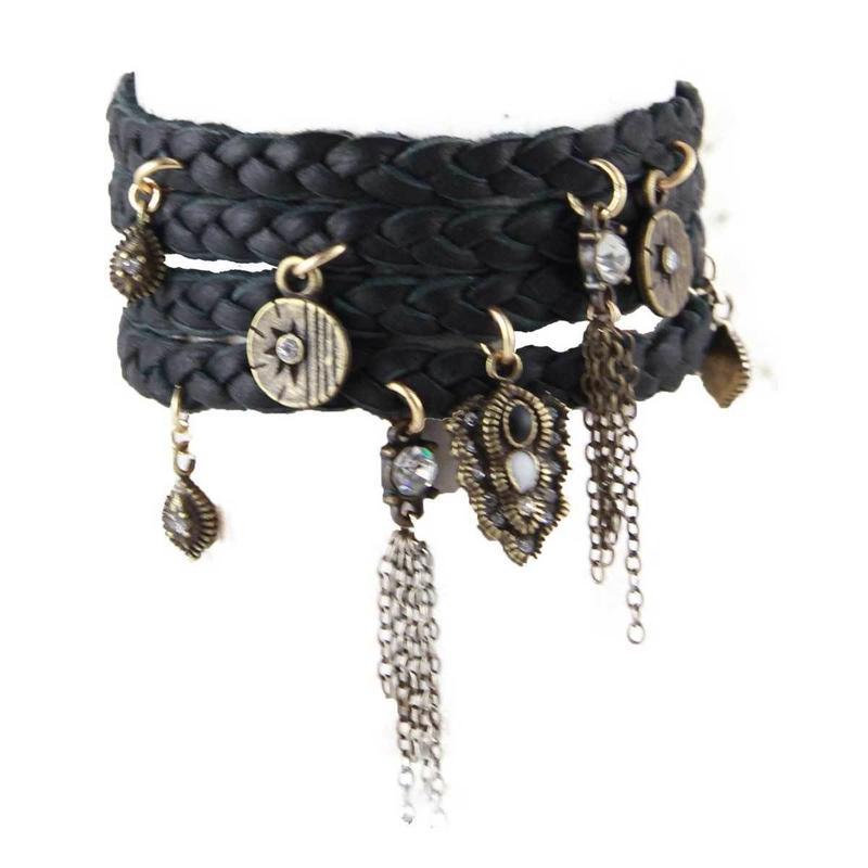 ブレスレット レディース Buffalo Stance Wrap Bracelet ブラック 革 レザー パンク アメリカン ブランド Ettika エティカ