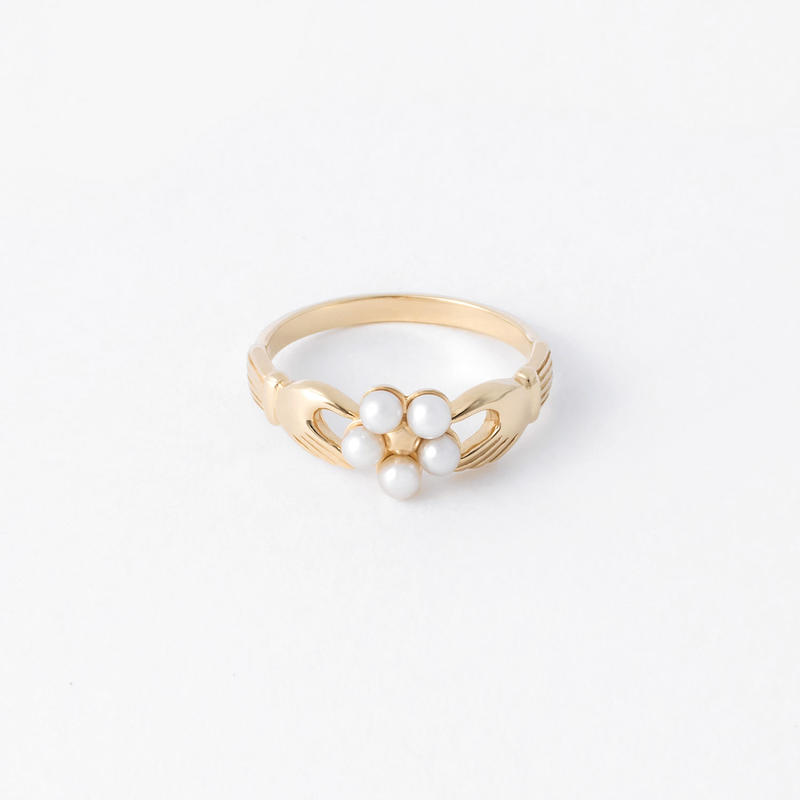 pearl flower ring / gold