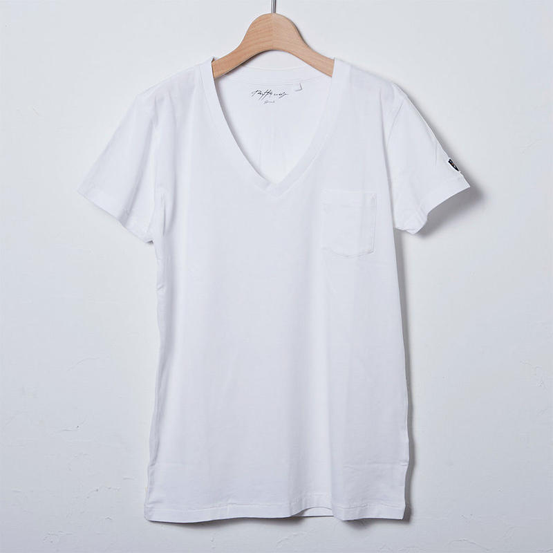 VネックTシャツ/ホワイト(PW_03_VN_WH)