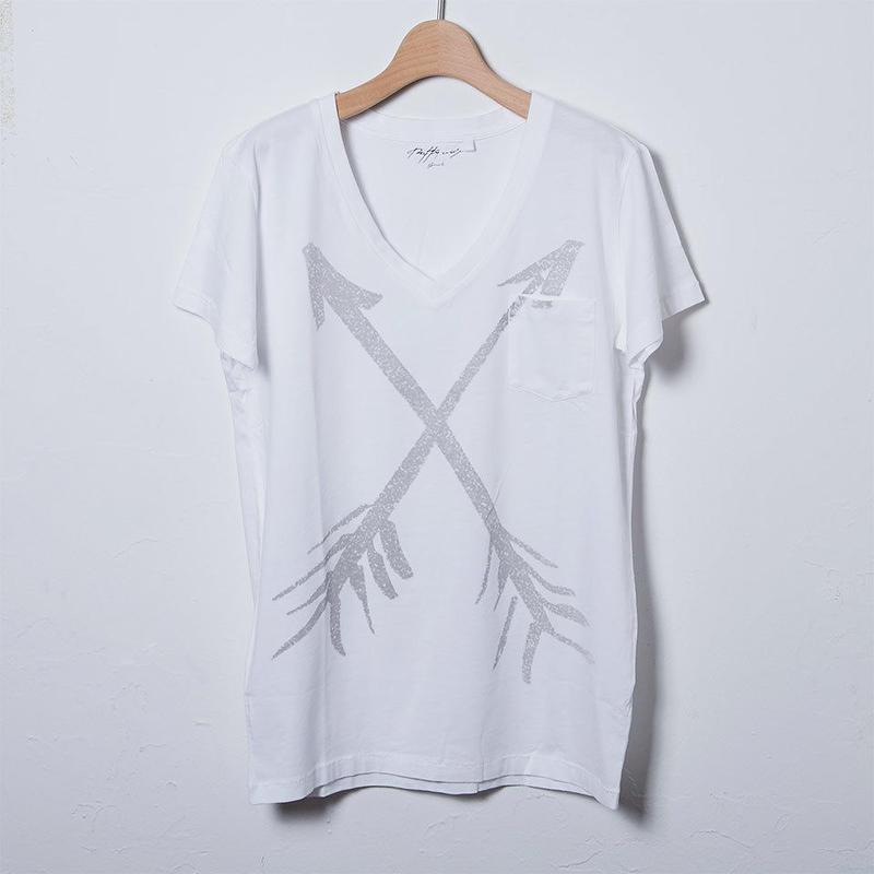 VネックTシャツ/プリントアローズ(PW-03-VN-PA)