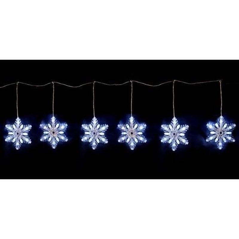 イルミネーション ディスプレイ 飾り 照明 ライティング クリスマス  雪 結晶 LED スノーフレークカーテン 6連【LDCM076】CR-81