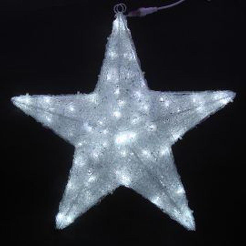 イルミネーション ディスプレイ 飾り 照明 ライティング クリスマス  星 白色LEDクリスタルスターライト(90㎝)【L3D263】CR-87