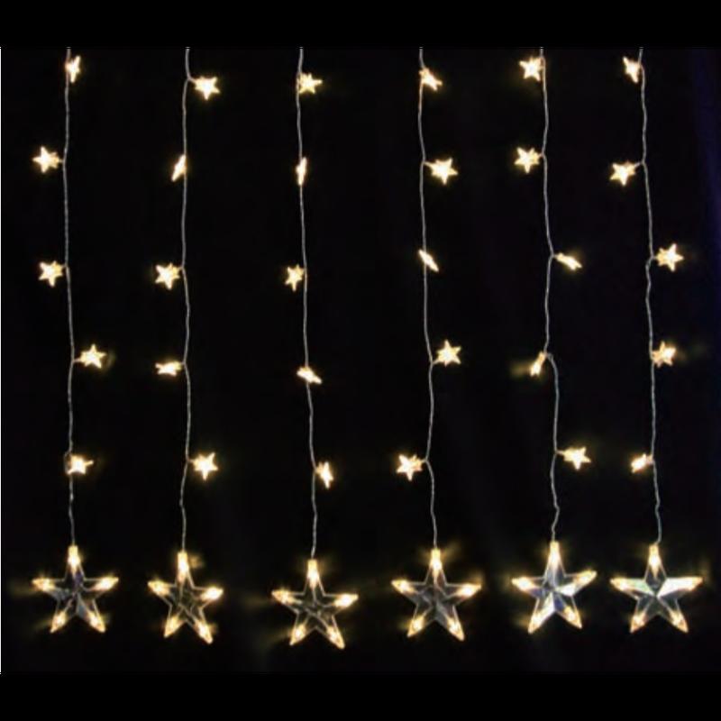 イルミネーション ディスプレイ 飾り 照明 ライティング クリスマス  LED スター カーテン 6連【LDCM051】CR-82