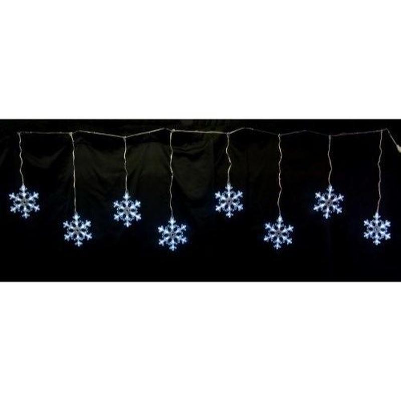 LED イルミネーション ディスプレイ 飾り 照明 ライティング クリスマス  雪 結晶 スノーフレーク つらら 白色 8連【LDCM070】CR-81