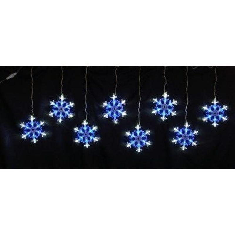 イルミネーション ディスプレイ 飾り 照明 ライティング クリスマス  雪 結晶 LEDスノーフレーク つらら 白&青色 8連【LDCM066】CR-81