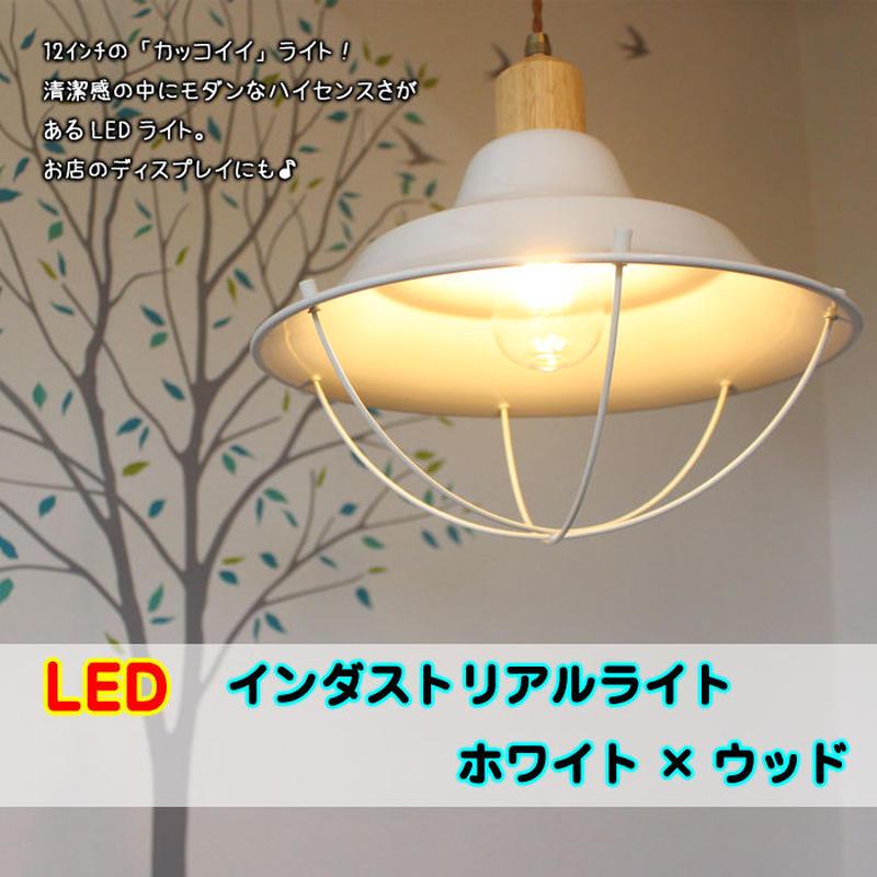 LED【12インチ インダストリアル】ライト《ホワイト》 ワイヤー ウッド 紐 照明 アルミ 天井 シーリング JR