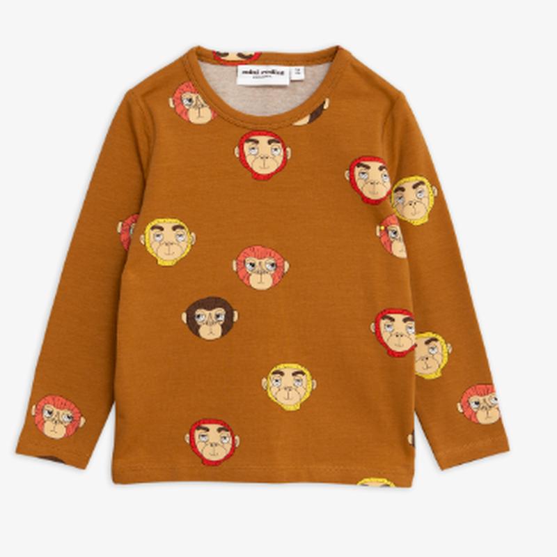mini rodini ミニロディーニ  MONKEYS PRINTED LONG SLEEVE T-SHIRT ロング Tシャツ 定価$45