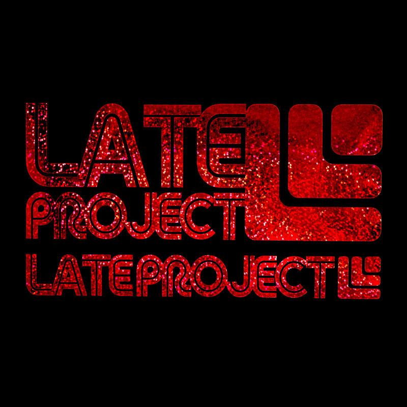 カッティングステッカー【LATEproject定番ロゴ】メタルフレーク・レッド・2種類セット