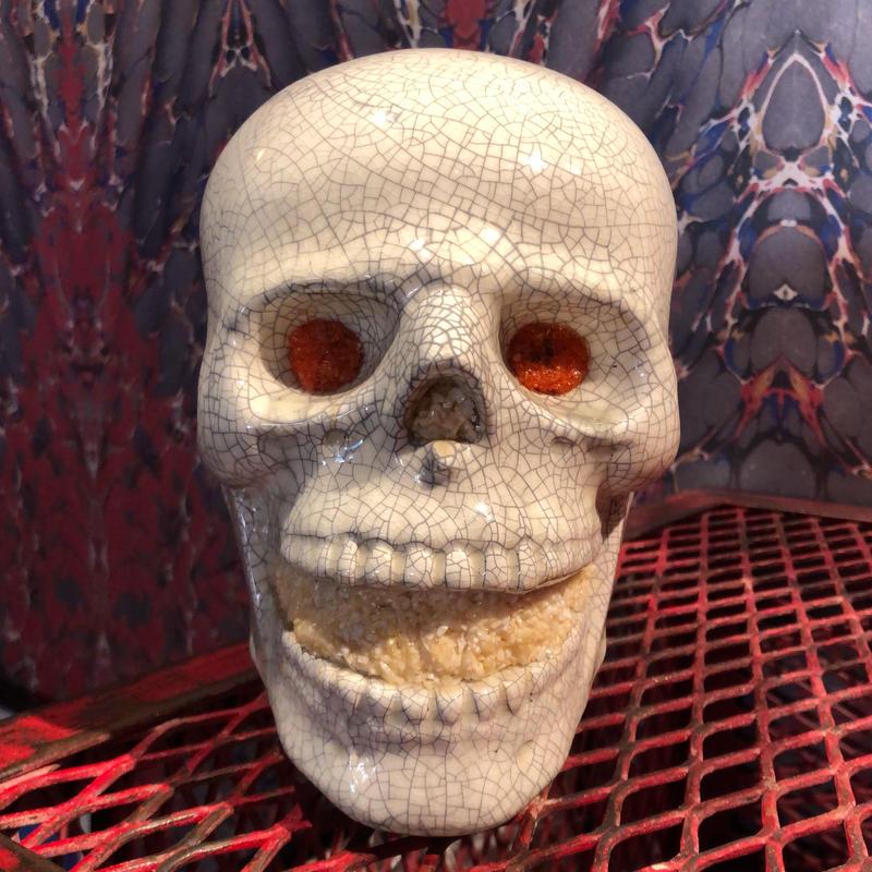 Vintage Ceramic Skull Lamp