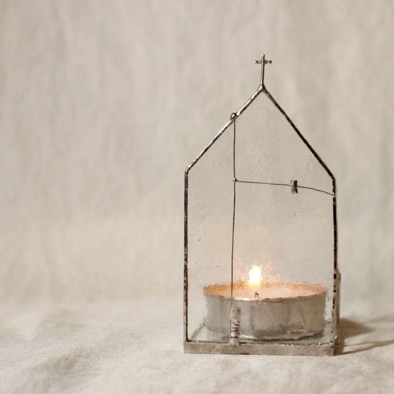 CHURCH CANDLE HOLDER | clear×silver 01