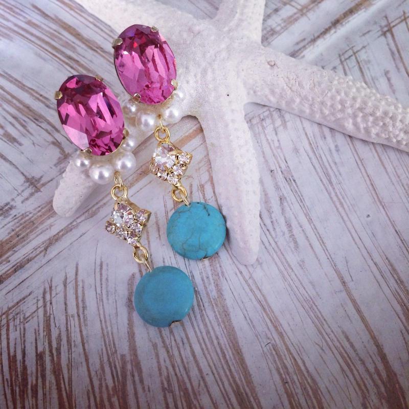 Pink Swarovski turquoise pierced earring