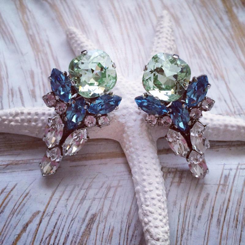 Green blue Swarovski pierced earring