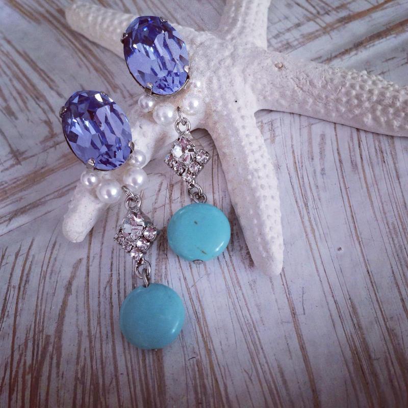 Purple Swarovski turquoise pierced earring
