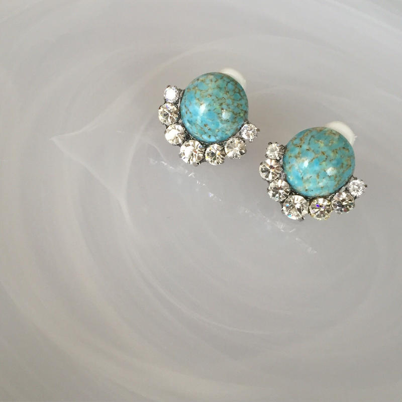 turquoise crystal pierce earring