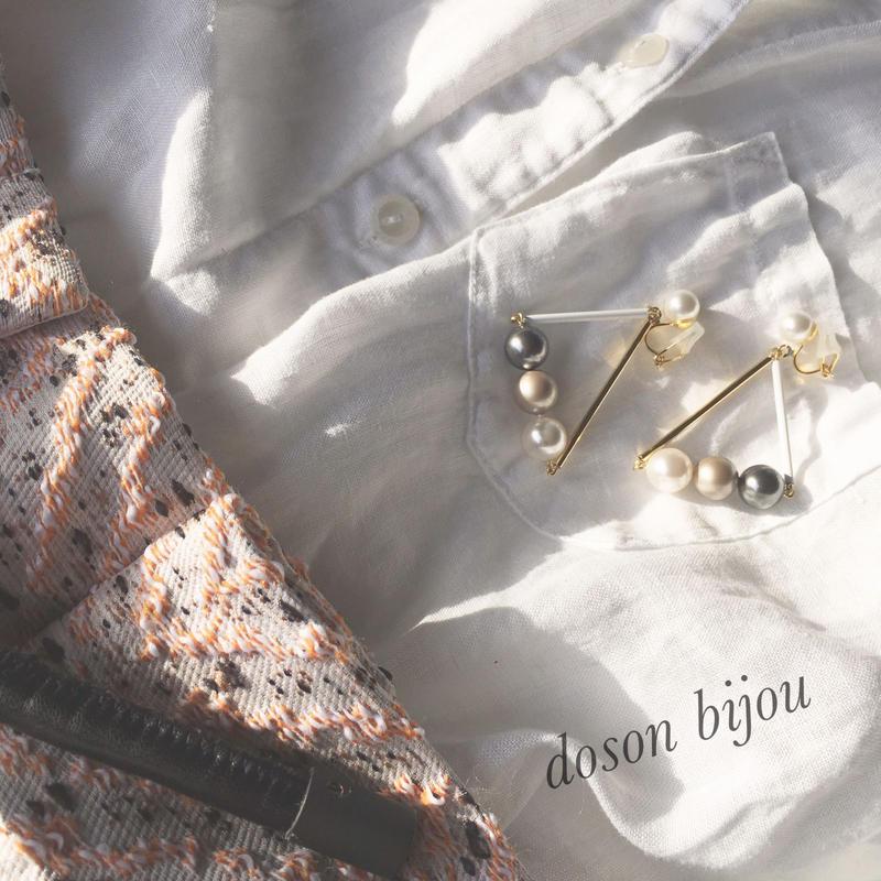 triangle pearl pierce earring