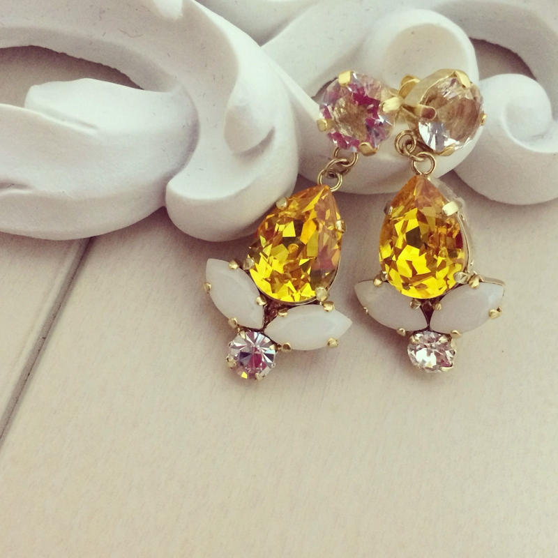 Yellow Swarovski pierced earring