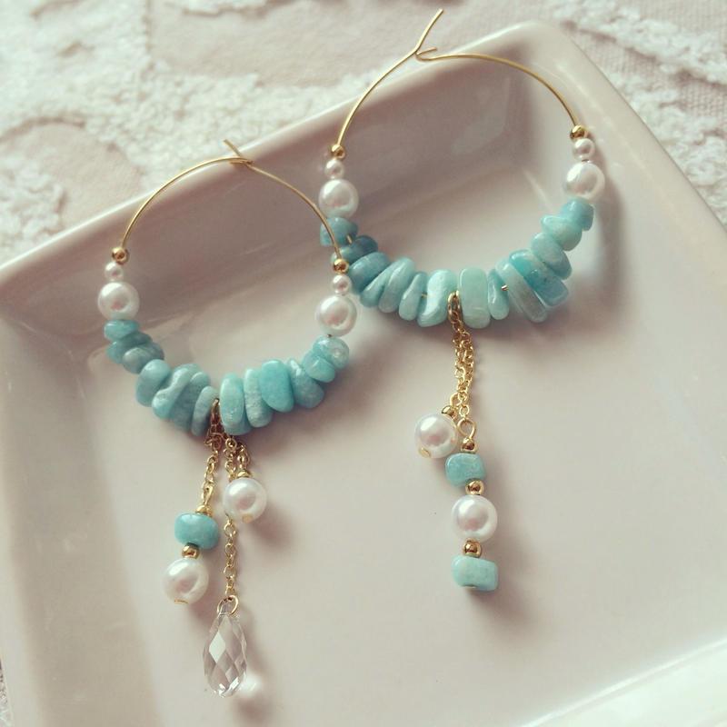 Turquoise pearl pierced earring