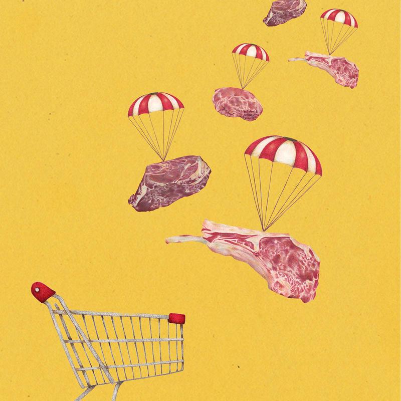 スーパーマーケット meat【イラスト:A4サイズ】