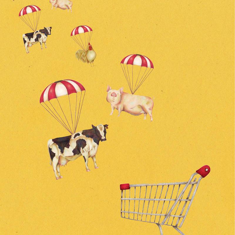 スーパーマーケット animal【イラスト:A4サイズ】