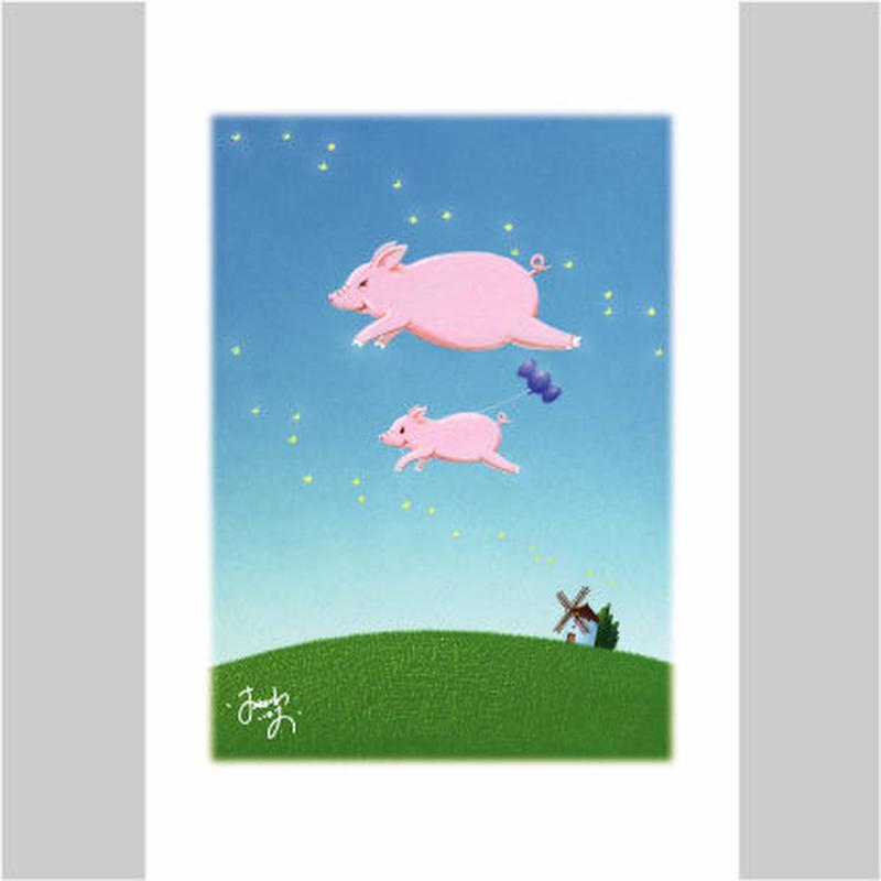 「ぶたちゃんの元気の風船」ポストカード