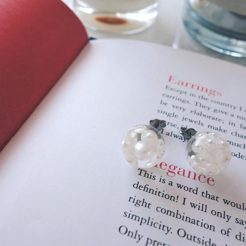 clear dome pearl pierce,earring