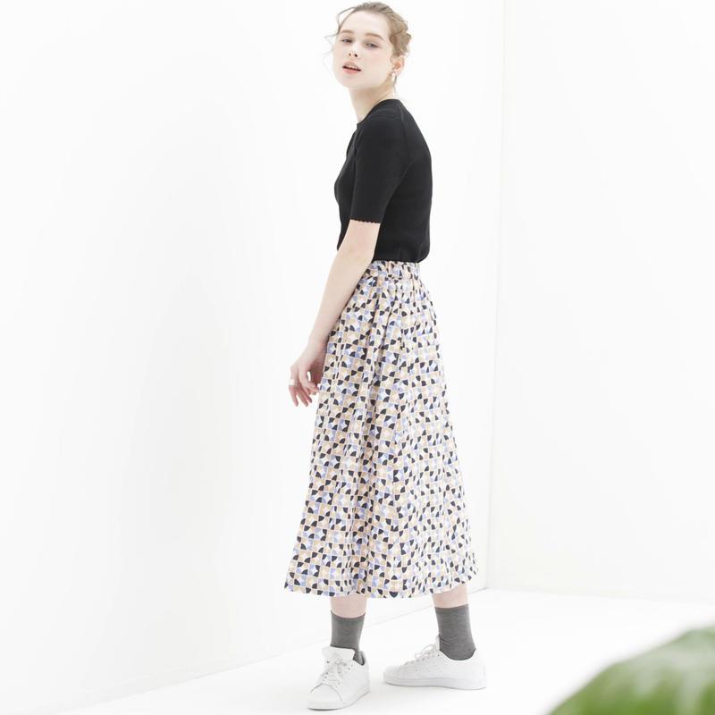 MARU柄コットンモスギャザースカート