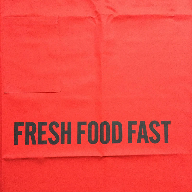 "DRESSSEN  lower wall long LWLB4 "" FRESH FOOD FAST"" APRON RED  COLOR ⭕️  公式オンラインストアのみの販売です"