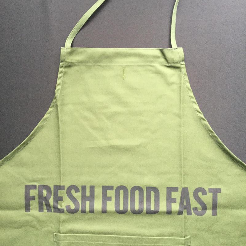 """DRESSSEN DR(GRN)9 """"FRESH FOOD FAST""""APRON  GREEN COLOR"""