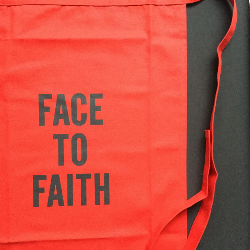 "DRESSSEN  lower wall long LWLB3"" FACE TO FAITH"" APRON RED  COLOR ⭕️※ 公式オンラインストアのみの販売です。"