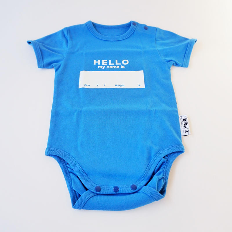 """DRIBBLE """"HELLO MY NAME IS"""" ロンパース / BLUE"""