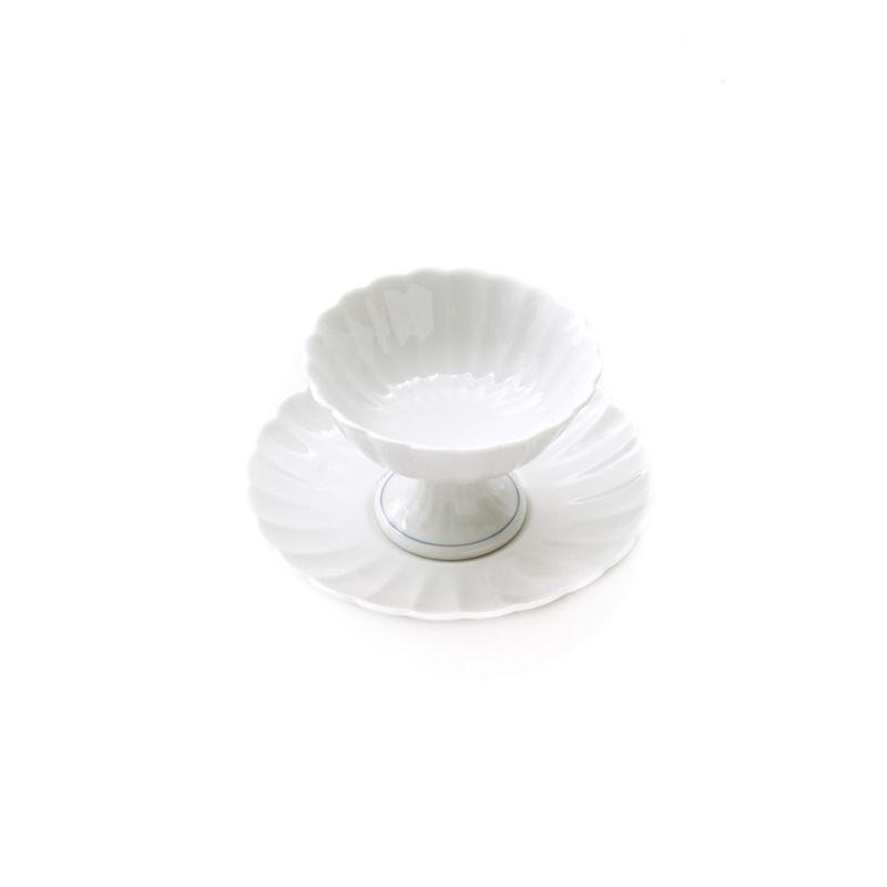 白磁菊割set