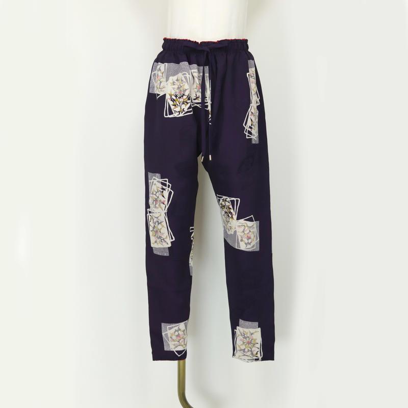 goto asato Special Slim Trousers〔HP-TR06Z〕(紫地に重ね紙柄と地織り)