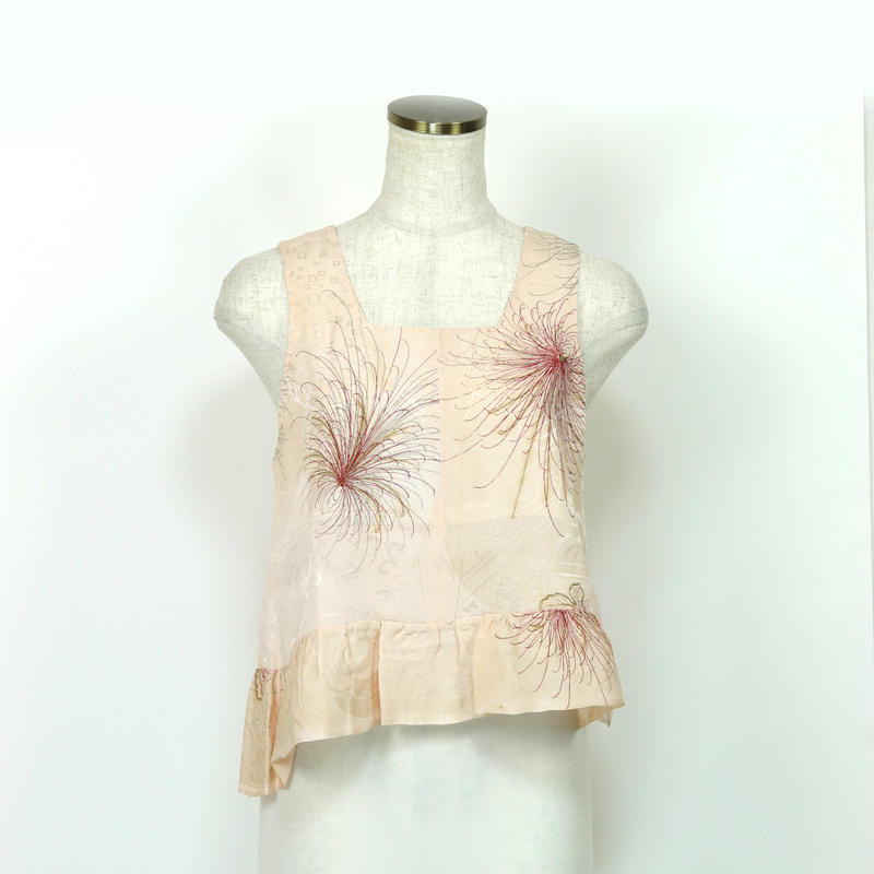 goto asato  Silk Frilled Top 3〔HP-TT03Z〕 (ピンク地に菊の柄)