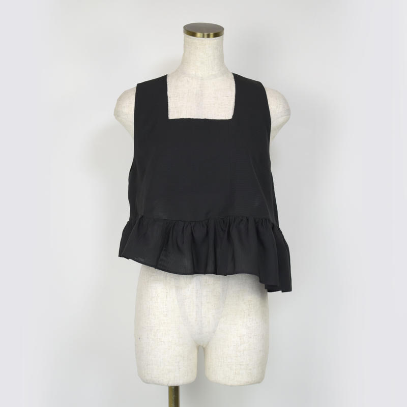 goto asato  Black Frilled Top 〔HP-TT02B〕(Black)