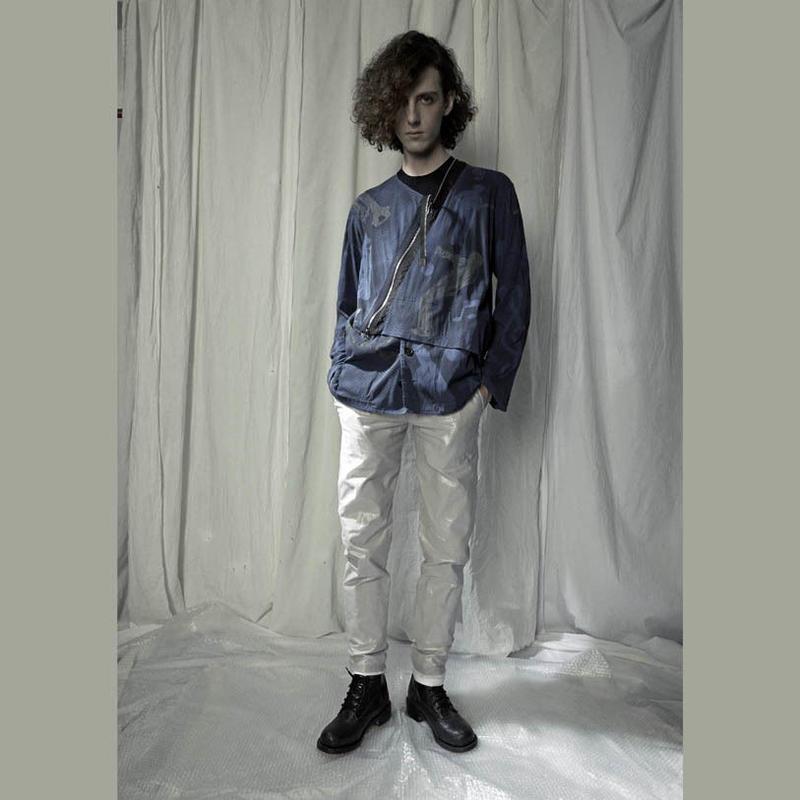 KOHSHIN SATOH メンズ ノーカラージャケット 〔CT-055〕(BLUE-48)