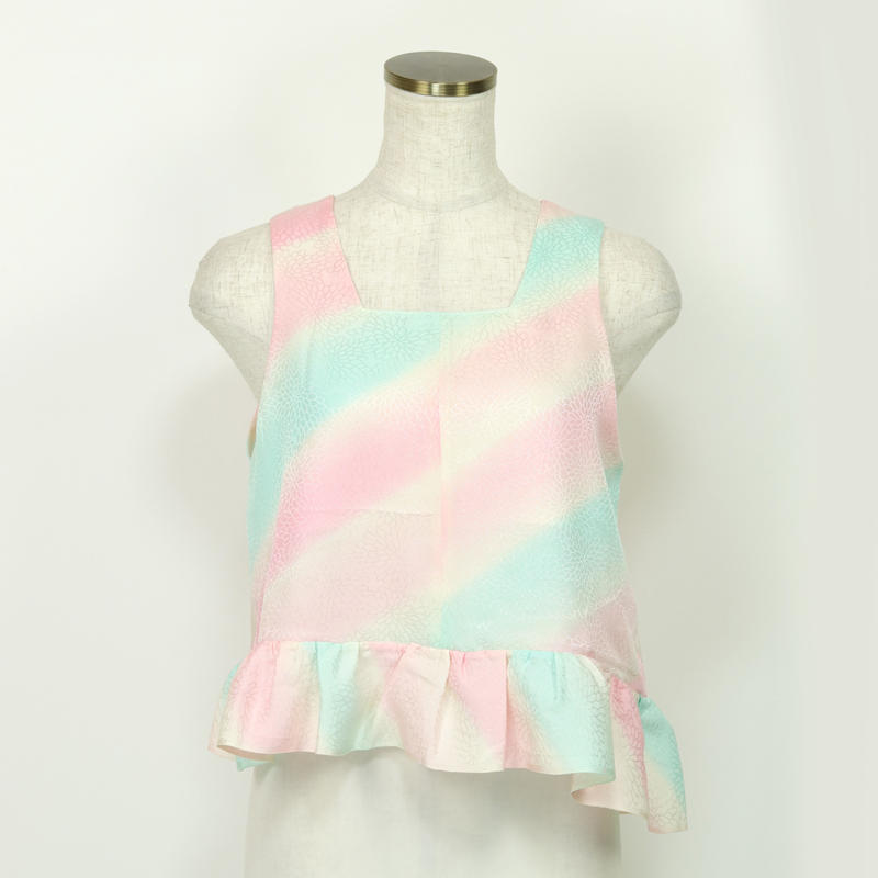 goto asato  Silk Frilled Top 3〔HP-TT03Z〕 (虹色の斜め模様)