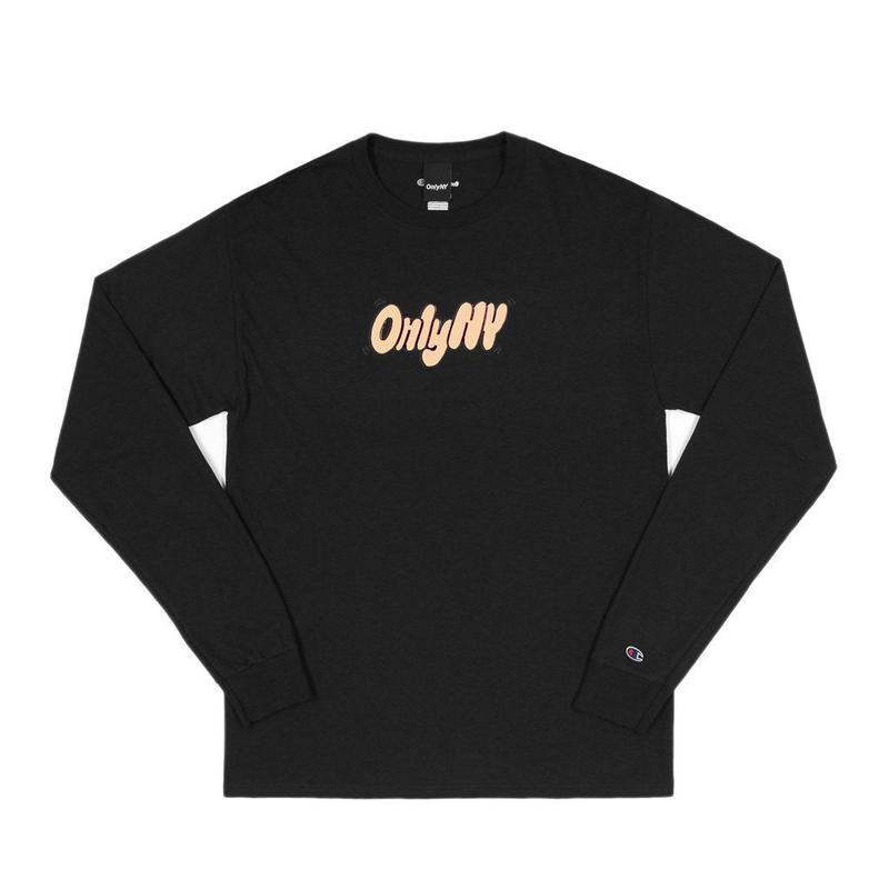"""ONLY NY"" Bubble Letter Champion® L/S T-Shirt (Black)"