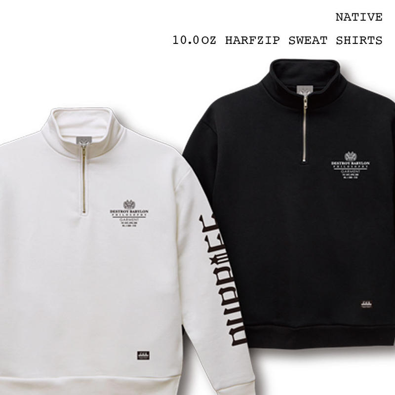 Native / 10.0oz Half Zip Sweat Shirts