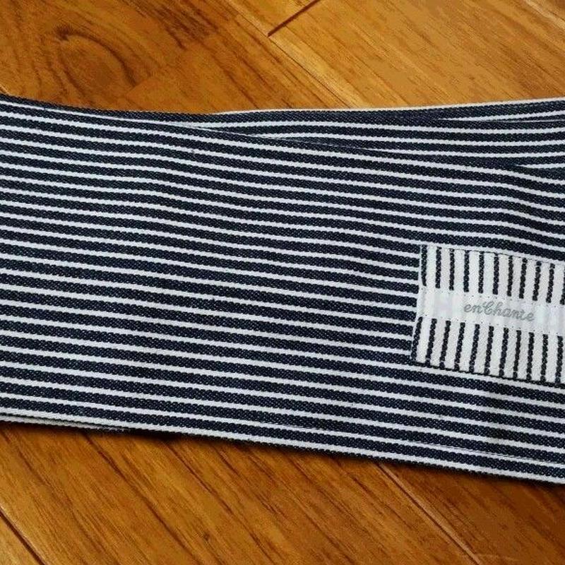 一本帯ヒッコリーデニム  (藍色×ホワイト)