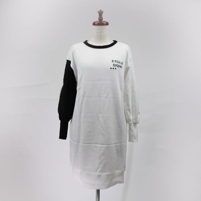 1810402 裏毛袖衿配色ワンピース