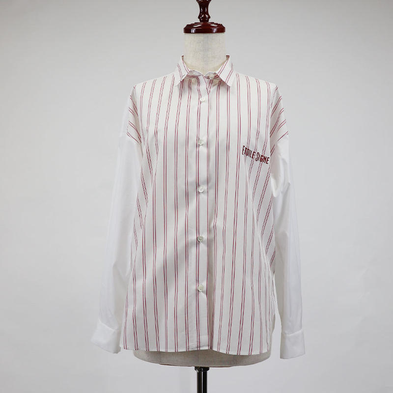 1810601 ストライプ×無地シャツ