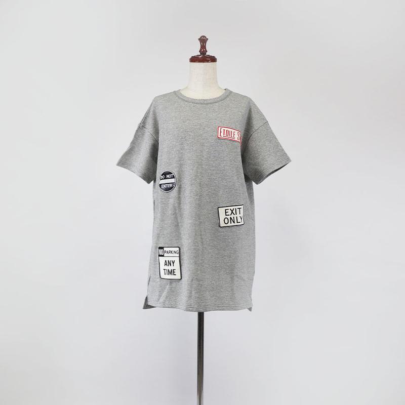 1901128 ミニ裏毛Tシャツ半袖ロング(ワッペン)