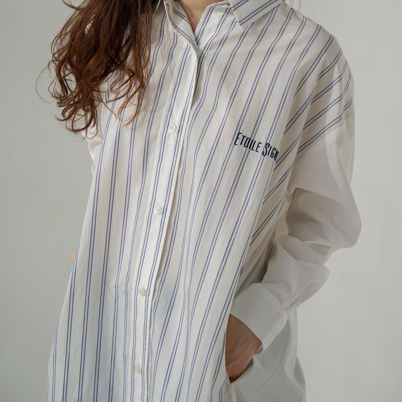 1810602 ストライプ×無地ロングシャツ