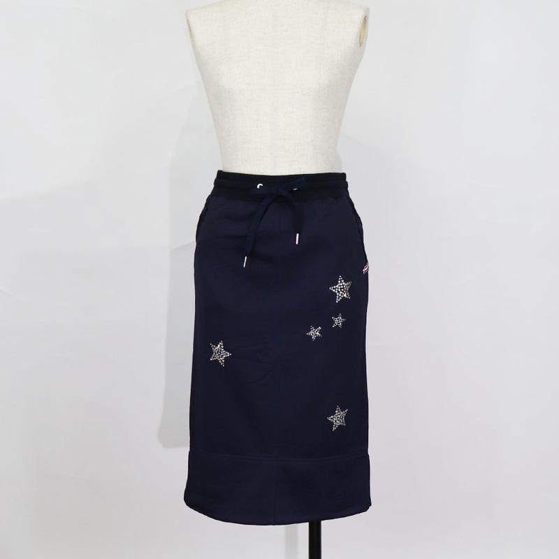 1810702 裏毛スワロ刺繍スカート