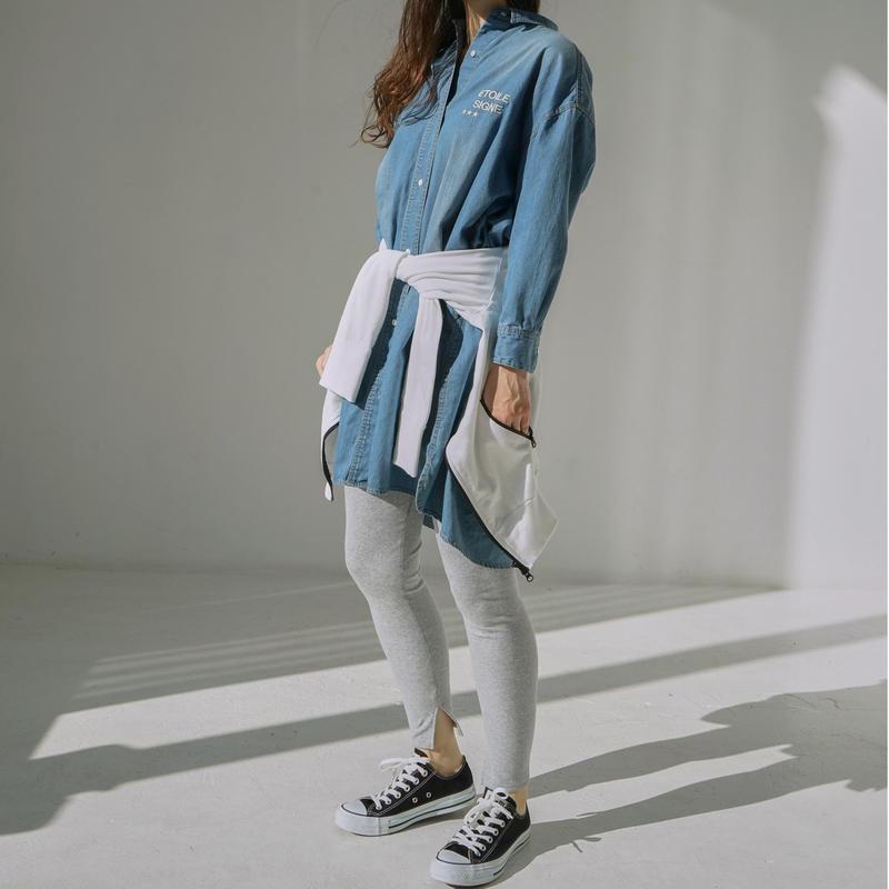 1810606 デニムビッグロングシャツ