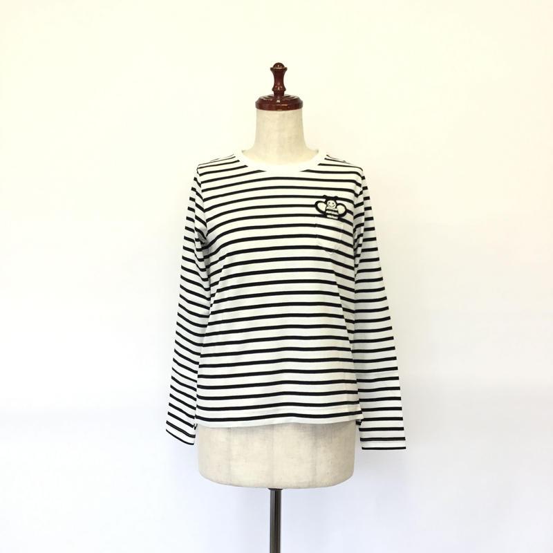 1804112-2    ワッペン付長袖クルーネックボーダーTシャツ