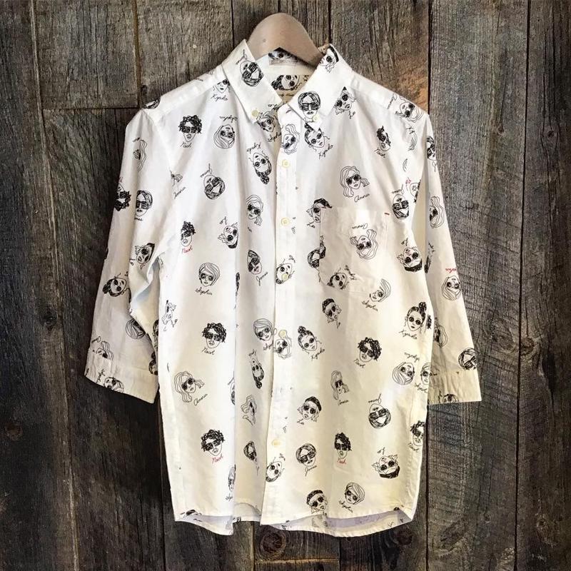 フェイス柄 7分袖シャツ