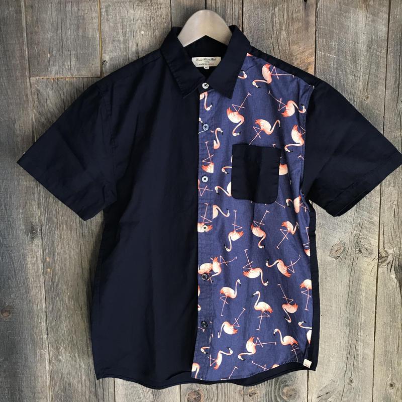 日本製フラミンゴ切替半袖シャツ