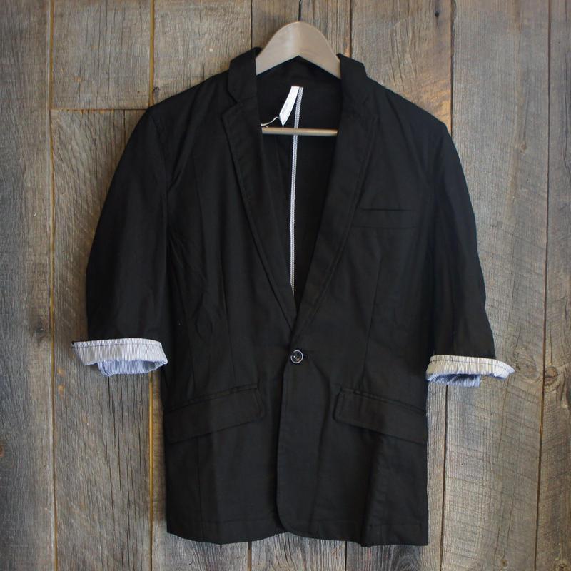 綿麻ストレッチ7分袖テーラードジャケット