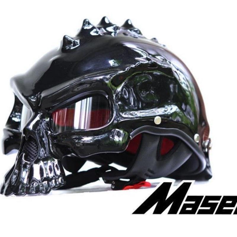ドクロ スカル スタイル ヘルメット 半ヘル スノボ スノーボード ハーフ バイク キャップ おもしろ 目立つ M L XL ブラック艶あり
